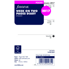 Filofax 17-68221 Pocket 'Week on Two Pages' English 2017 Diary