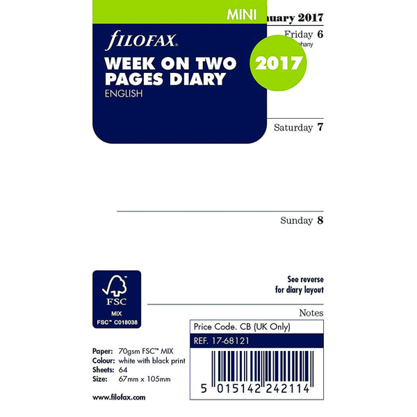 Filofax 17-68121 Mini 'Week on Two Pages' English 2017 Diary (Blue)