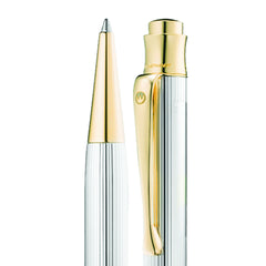 WALDMANN TANGO BALLPOINT PEN STERLING SILVER LINE GOLD FITTINGS 0313