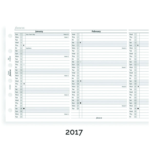 Filofax 17-68202 Pocket Vertical Year 2017 Planner