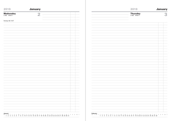 LETTS OF LONDON 2019 A4 DAY PER PAGE DIARY BLACK COLOUR WHITE PAPER STANDARD DESK 19-T11ZBK