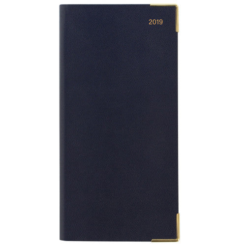 LETTS OF LONDON 2019 BUSINESS SLIM LANDSCAPE WEEK TO VIEW DIARY DARK BLUE -19-MC3S2BL - L2