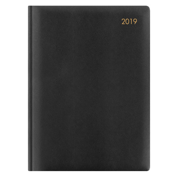 LETTS OF LONDON 2019 A5 DAY PER PAGE DIARY BLACK COLOUR  CLASSIC WHITE  PAPER A1A-19-MW1X2BK