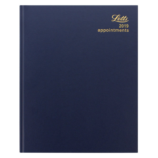 LETTS OF LONDON 2019 QUARTO DAY PER PAGE WEEK TO VIEW DIARY BLACK COLOUR WHITE PAPER STANDARD DESK 19-T31YBL