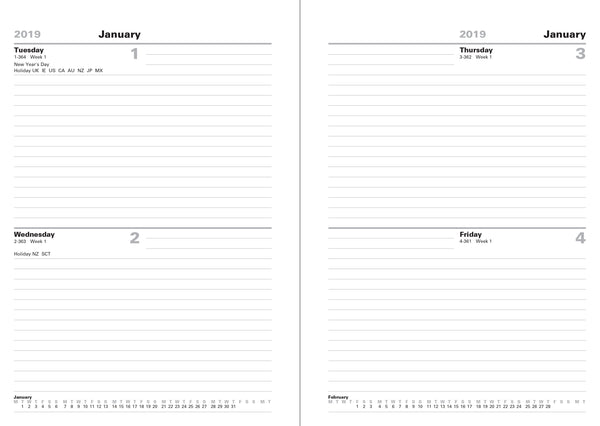 LETTS OF LONDON BUSINESS DESK A5 TWO DAY PER PAGE DIARY 2019 STANDARD 19-T21XBK