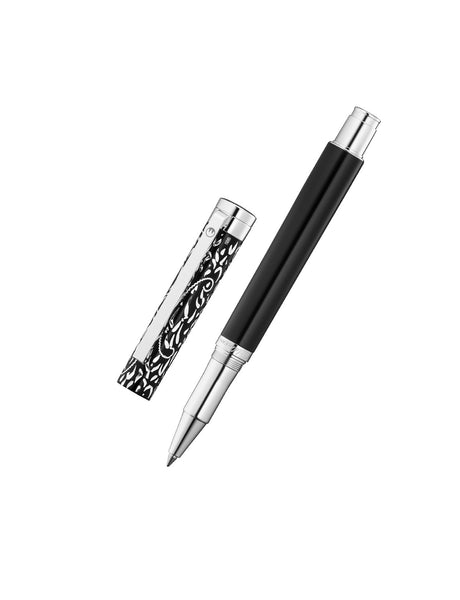 WALDMANN 925 SOLID STERLING SILVER XETRA VIENNA ROLLER BALL PEN HAND CRAFTED BLACK LACQUER ED 0044
