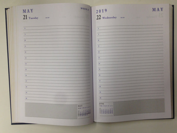 LETTS OF LONDON 2019 A5 DAY PER PAGE DIARY BLACK COLOUR  CLASSIC WHITE  PAPER A1A-19-MW1X2BL