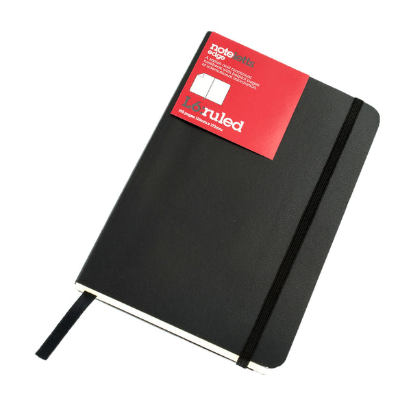 LETTS OF LONDON NOTELETTS EDGE L6 RULED NOTEBOOK  BlACK TNLL6NREDBK