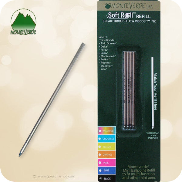 MONTEVERDE MINI BALLPOINT BLACK REFILL TO FIT MULTI-FUNCTION AND OTHER MINI PENS D152BK