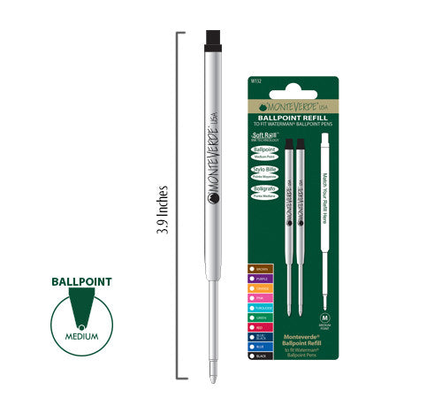 MONTEVERDE BALLPOINT REFILL TO FIT WATERMAN PENS W132BK