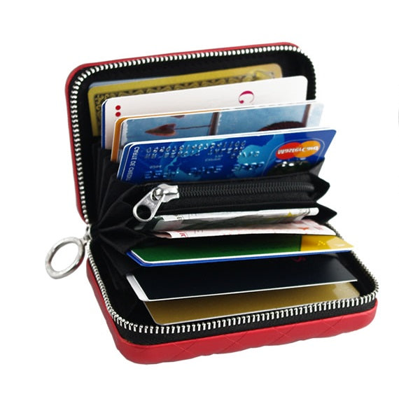 OGON DESIGN CARD CASE WALLET QUILTED ZIPPER WALLET SILVER
