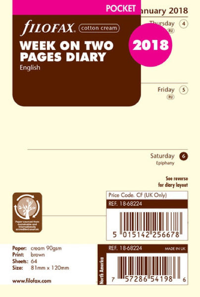 FILOFAX  WEEK ON TWO PAGES DIARY COTTON CREAM 18-68224