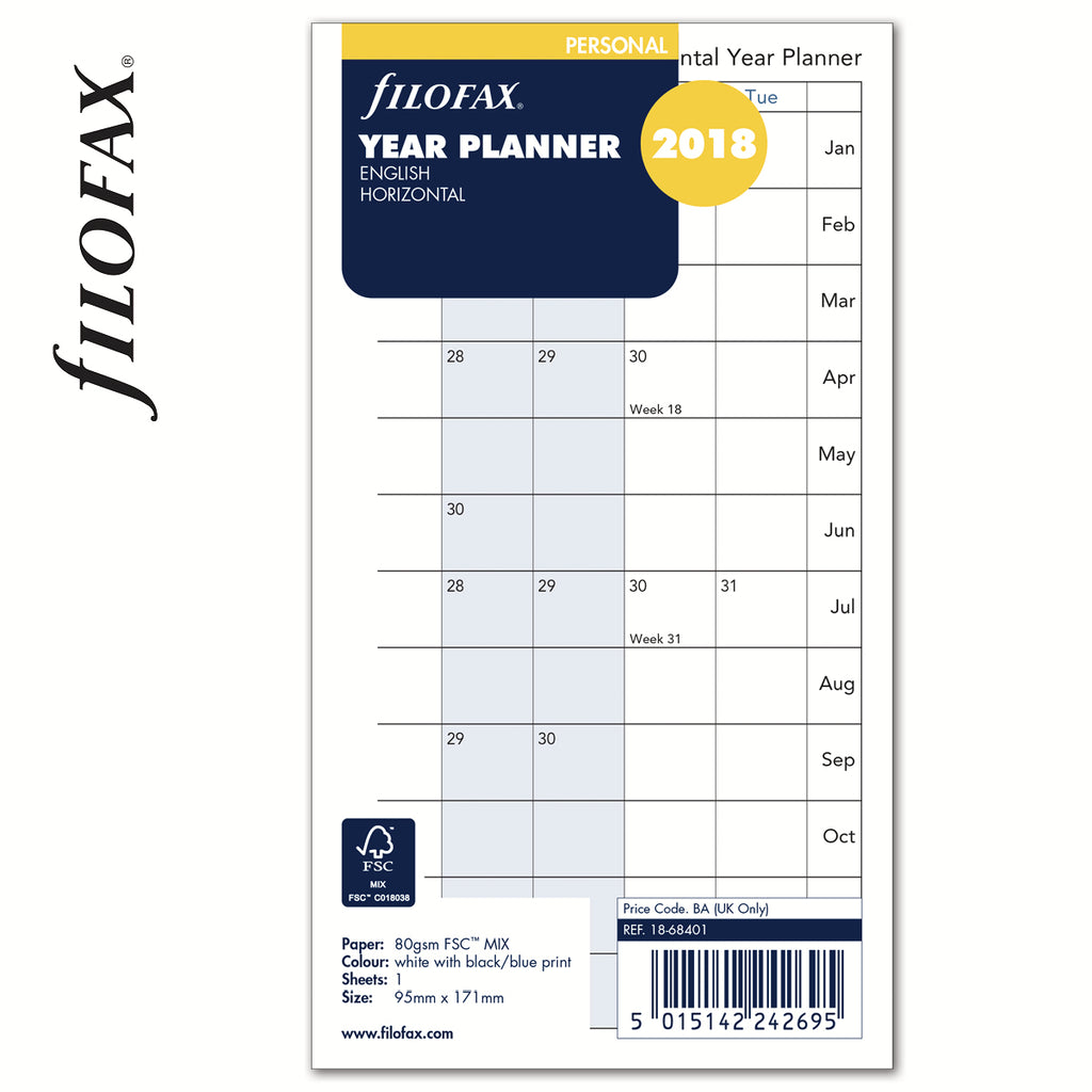 FILOFAX  PERSONAL YEAR PLANNER HORIZONTAL 18-68401