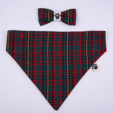 Petsy & Pooch 'Green & Red Tartan' Dog Bandana & Bow Tie