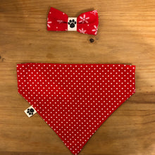 Petsy & Pooch 'Red & White Snowflake' Dog Bandana & Bow Tie