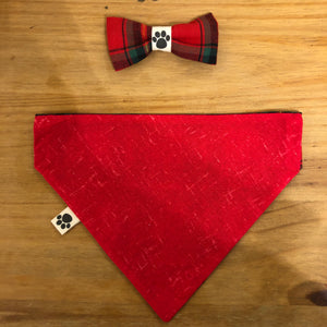 Petsy & Pooch 'Red & Green Tartan' Dog Bandana & Bow Tie
