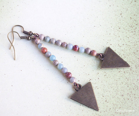 Jasper stones beads and arrow earrings