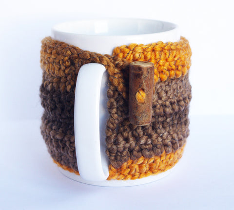Brown Orange crochet wool mug sleeve cozy cup for coffee time tea lover kitchen decor