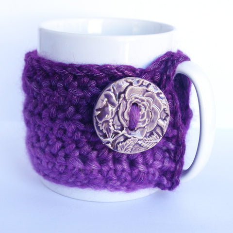 Purple cozy mug crochet wool sleeve cup for coffee time tea lover kitchen decor