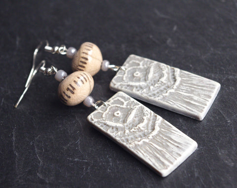 Grey earrings dangle raku and lace pattern charm