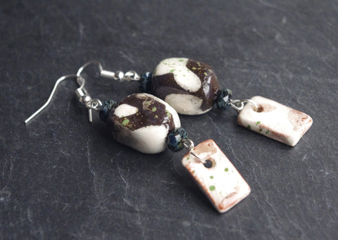 Rough rustic Black & White silver earrings