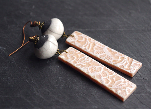 Long Pink earrings dangle raku and lace pattern charm