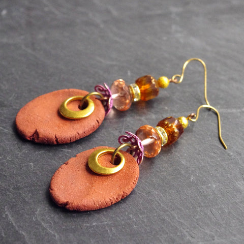 Pink earth pottery drop earrings dangle primitive jewelry