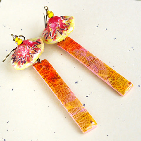 Orange mushroom long ceramic polymer clay earrings dangle