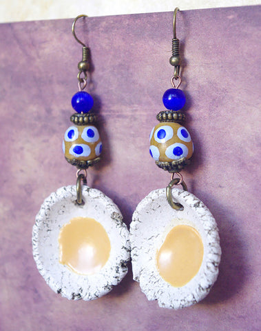 Cobalt Blue Mustard Yellow earrings africa bead and artisan round ceramic pendant