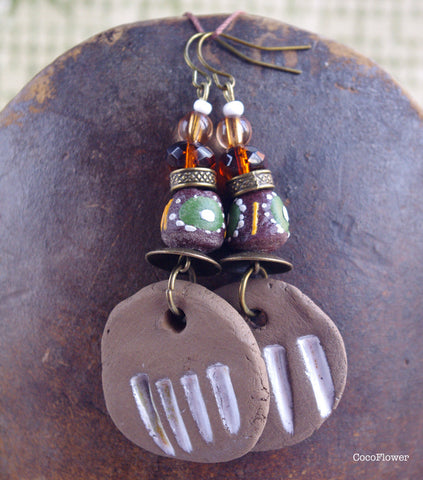 Dark Brown striped tribal earrings round ceramic charm & african bead