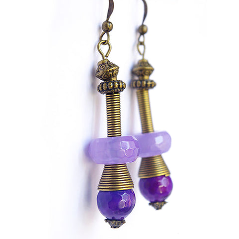 Purple Baroque agate drop earrings tube gemstone jewelry