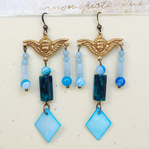 baroque golden angel wing earrings pearl amazonite agate beads