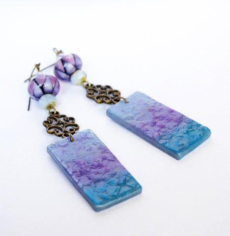 arlequin ombre Purple lampwork earring dangle gift for her