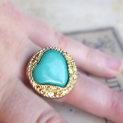 turquoise heart ring bohemian boho repurpose uclycling button jewelry