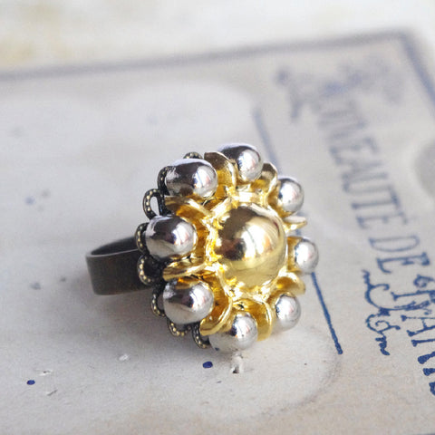 Gold sunflower ring vintage repurpose uclycling jewelry