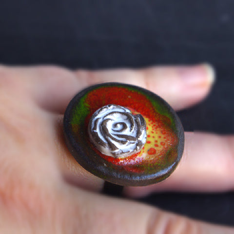 round statement ceramic ring multicolor lovely gift for her