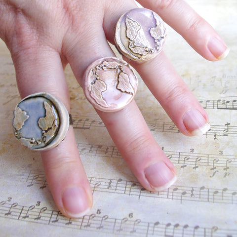 Earth round ring ajustable artisan ceramic pastel planet jewelry