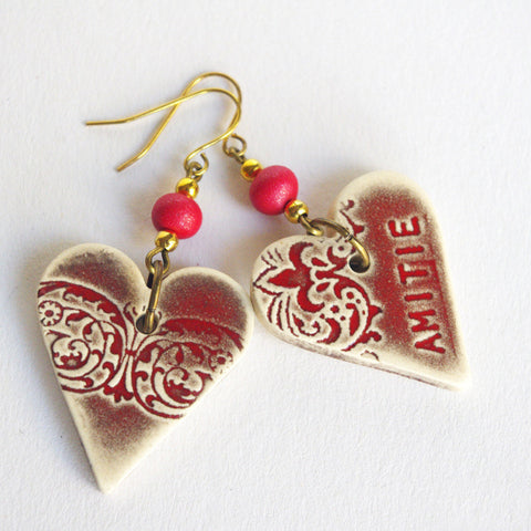 "Friendship jewelry heart earrings ""amitié"" French inscription Friend gift"