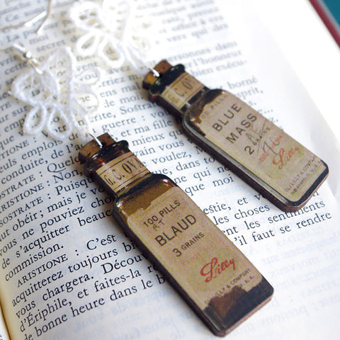wooden apothecary bottle lace earrings gift for medic nurse medecin