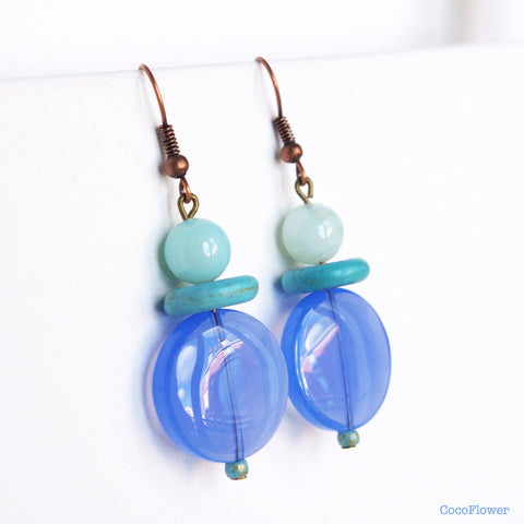 Blue turquoise petite earrings cute everyday jewelry agate glass bead