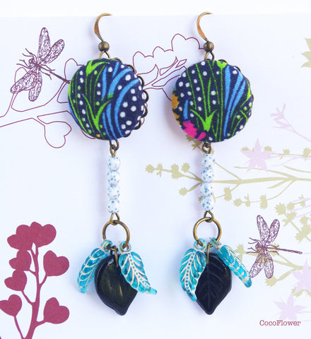 Secret garden earrings floral spring jewelry multicolor grass and leaf