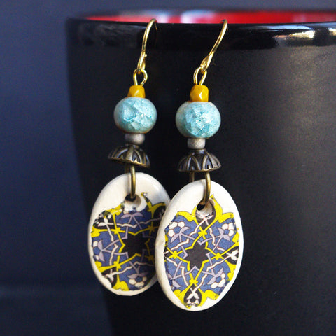 artisan mosaic tile yellow blue earrings dangle spring collection