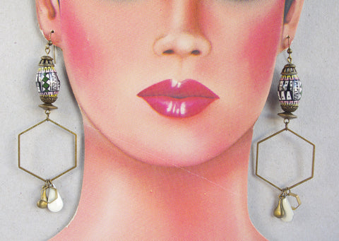Hexagon hoop earrings Peruvian bead Ethnic jewelry