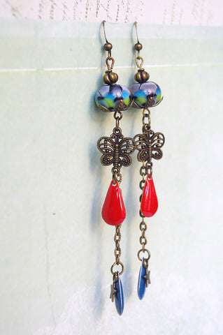 Butterfly and lampwork earrings Nature inspiration