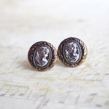 Cameo stud earrings reporpuse glamour post upcycling jewelry 13 mm