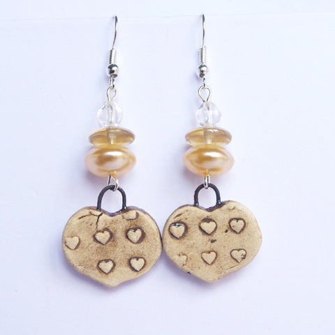 valentine gift for her heart earrings beige little heart jewlery