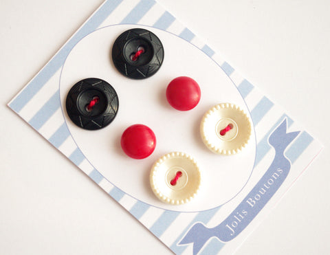 6x vintage buttons red white black nautical handmade cardboard
