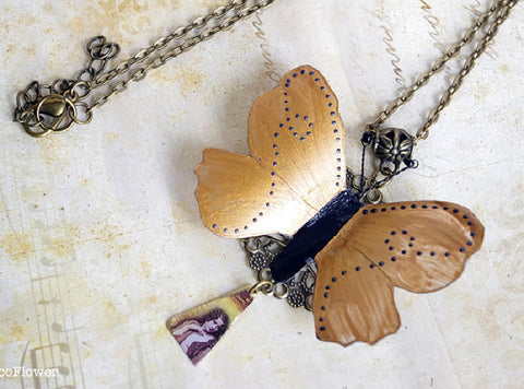 Butterfly necklace triangle pendant vintage style