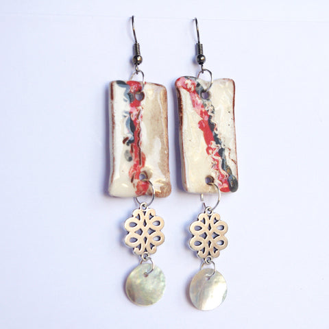 Chinese bow red black rectangular ceramic earrings