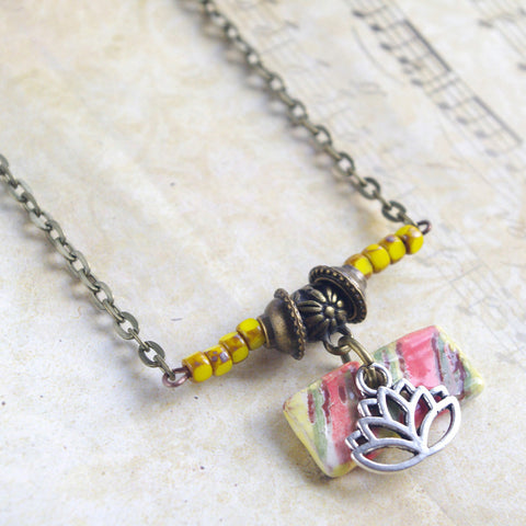 Lotus yellow green striped rectangular ceramic charm necklace zen yoga